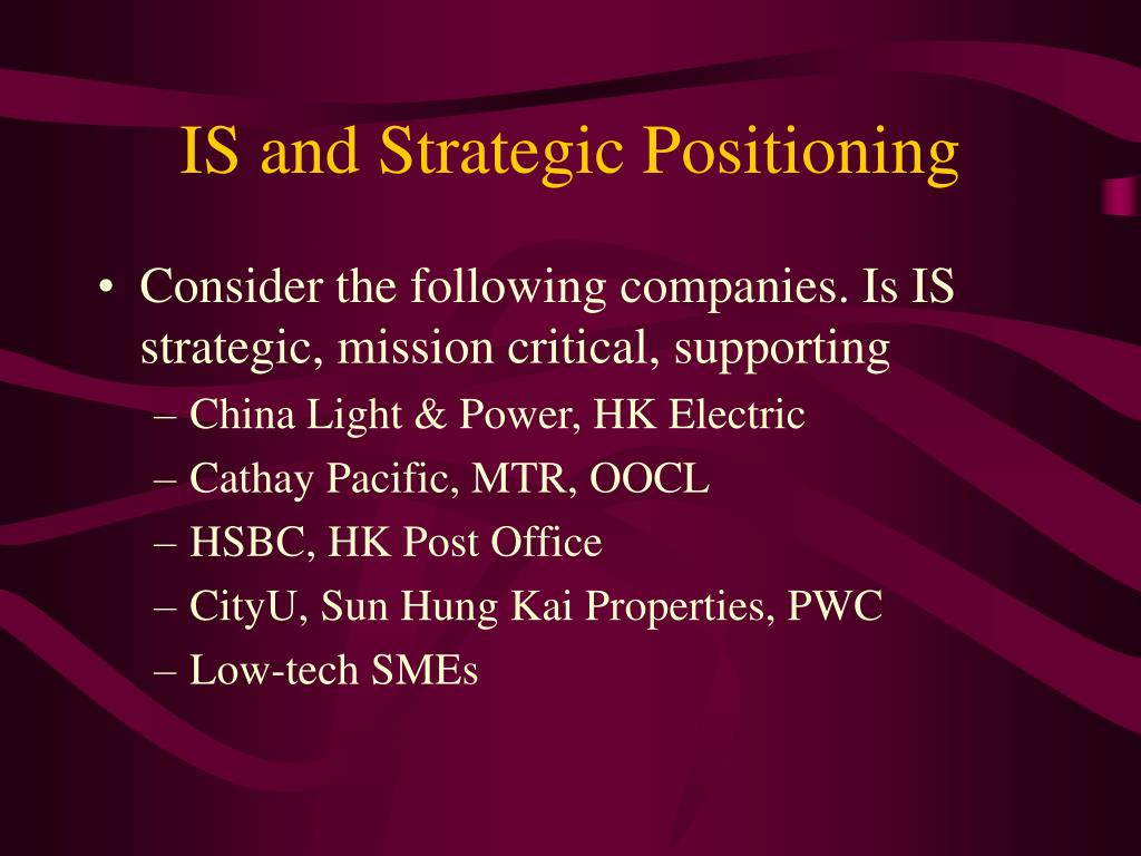 IS and Strategic Positioning