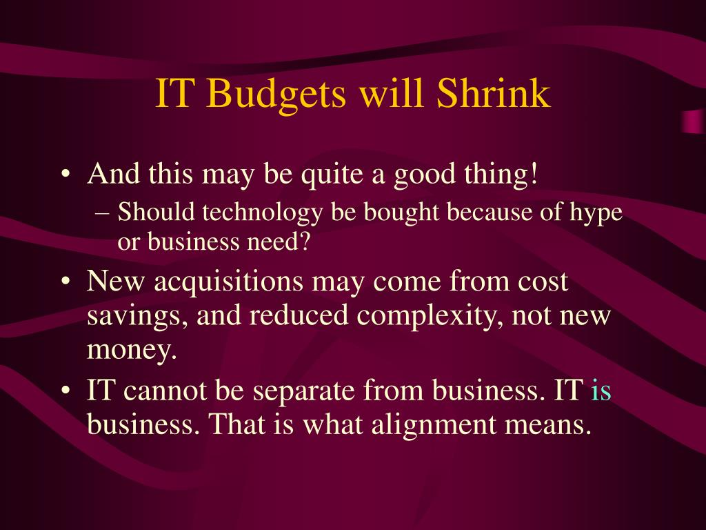 IT Budgets will Shrink