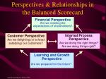 perspectives relationships in the balanced scorecard