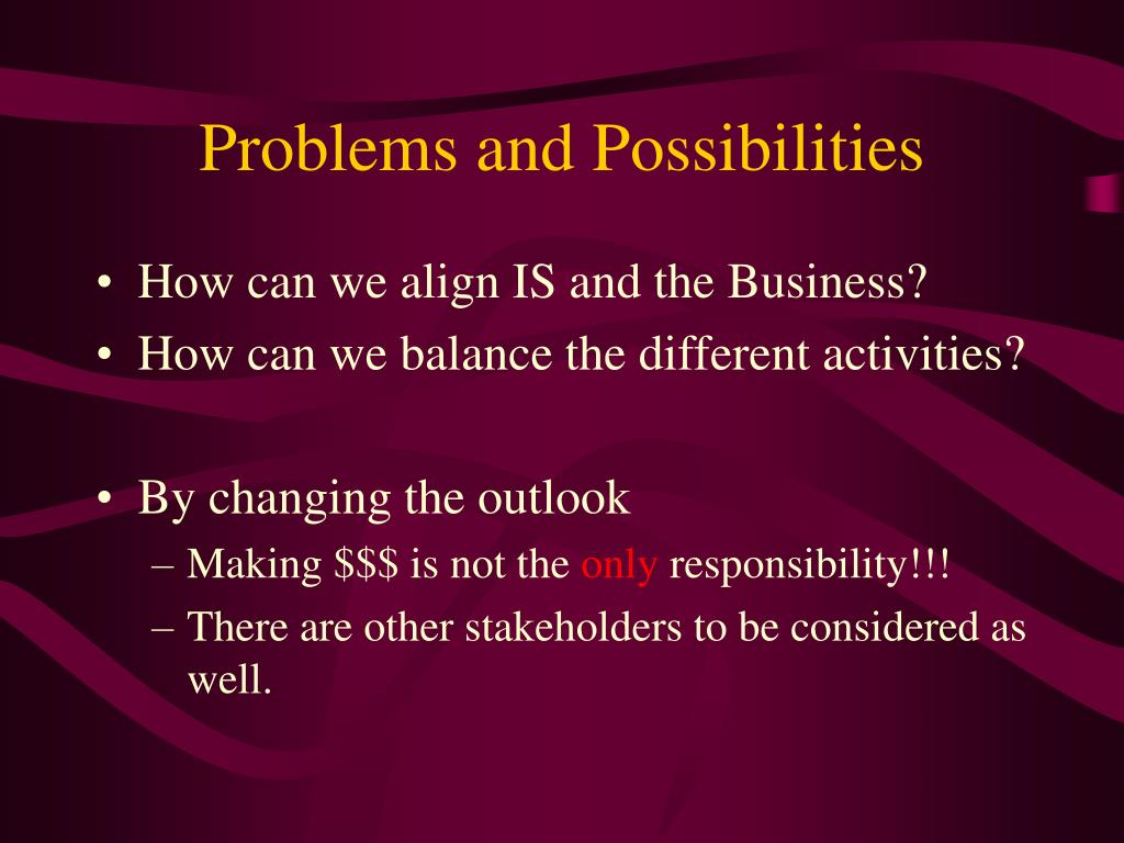 Problems and Possibilities