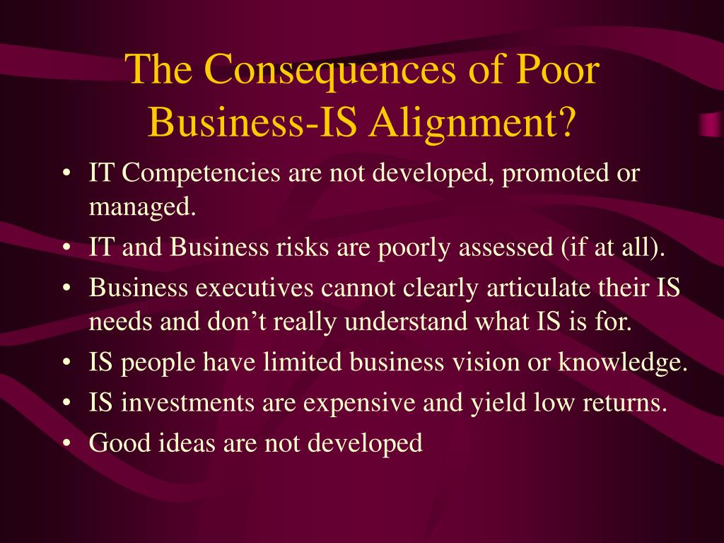 The Consequences of Poor Business-IS Alignment?