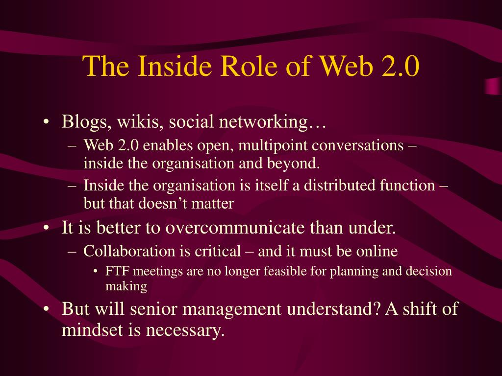 The Inside Role of Web 2.0