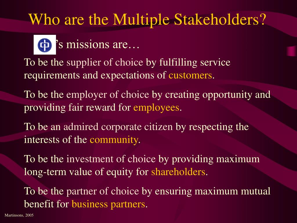 Who are the Multiple Stakeholders?