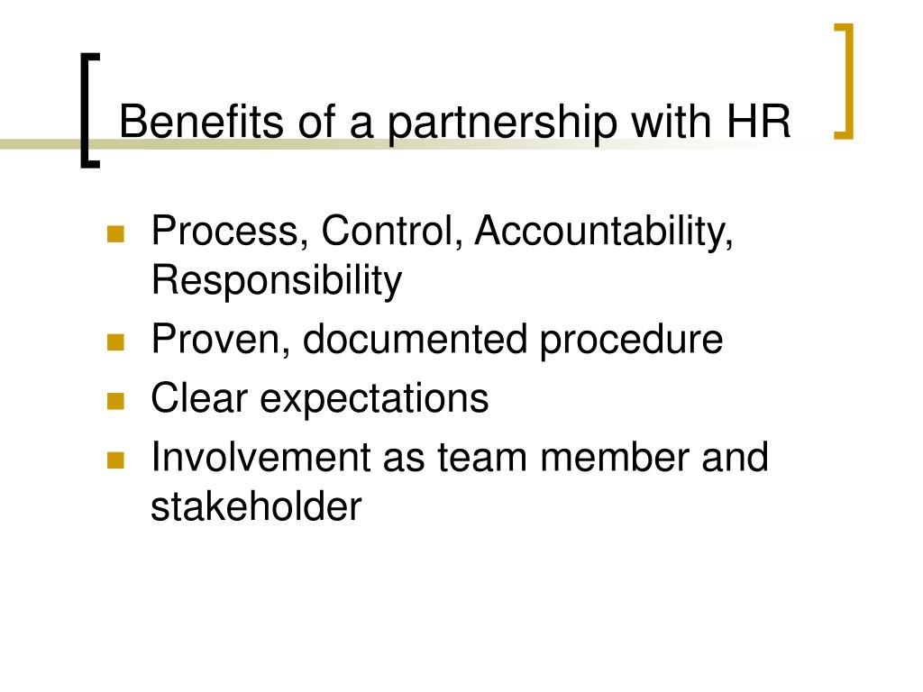 Benefits of a partnership with HR