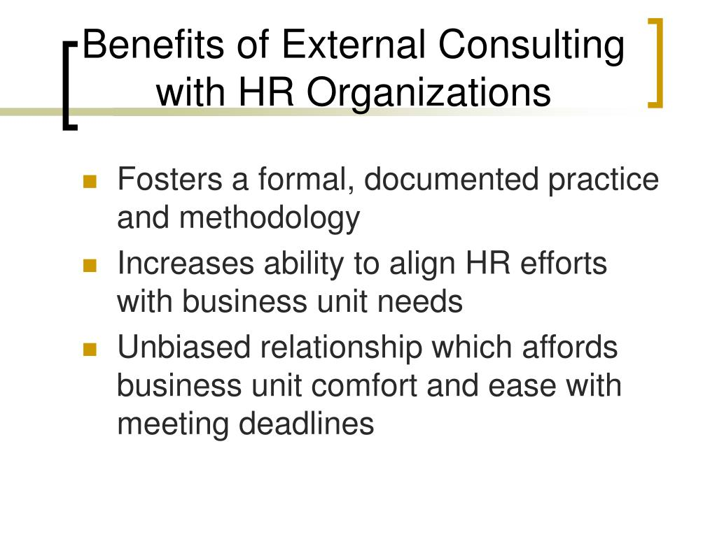 Benefits of External Consulting with HR Organizations