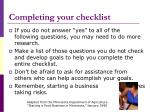 completing your checklist