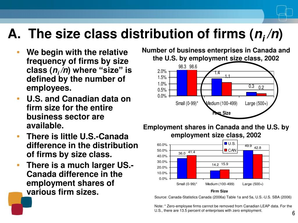 A.  The size class distribution of firms (
