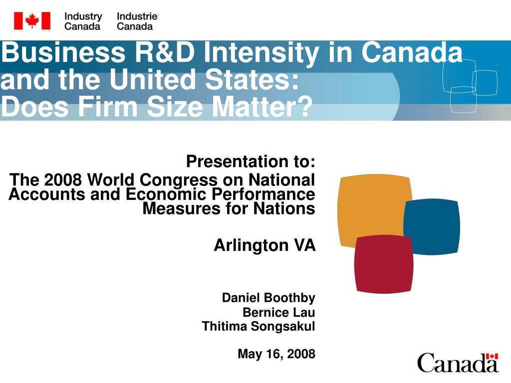 business r d intensity in canada and the united states does firm size matter l.