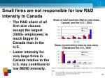 small firms are not responsible for low r d intensity in canada