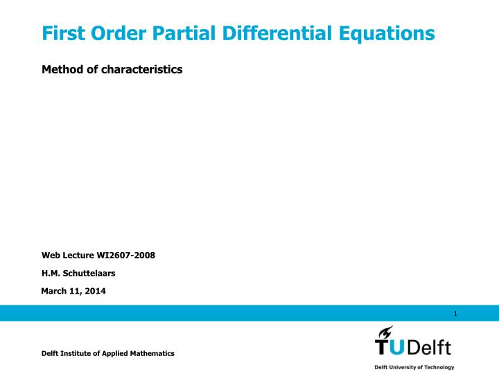 first order partial differential equations n.