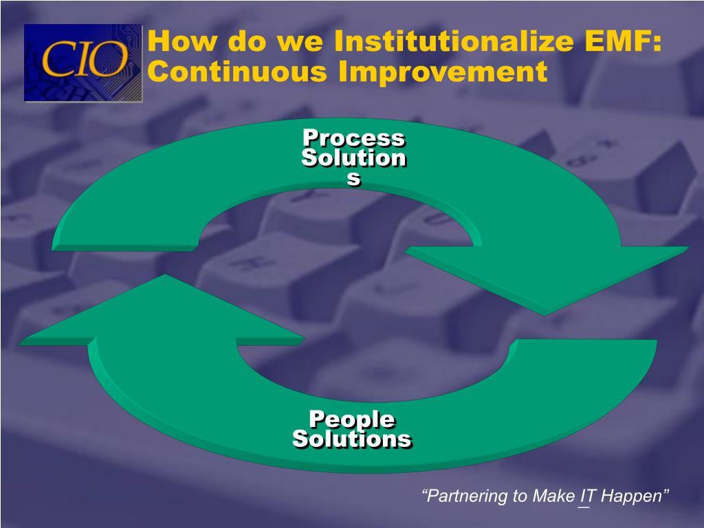 How do we Institutionalize EMF: