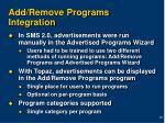 add remove programs integration