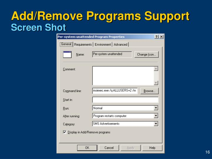 Add/Remove Programs Support