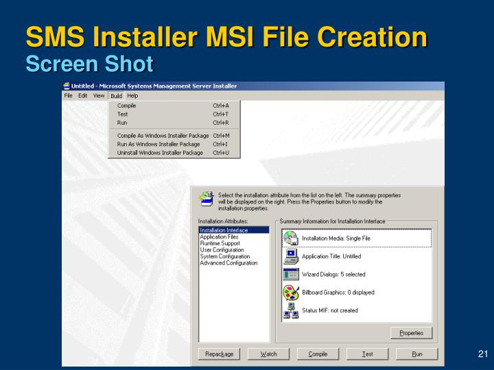 SMS Installer MSI File Creation