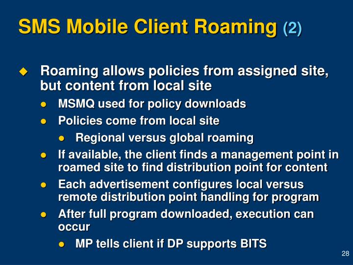 SMS Mobile Client Roaming
