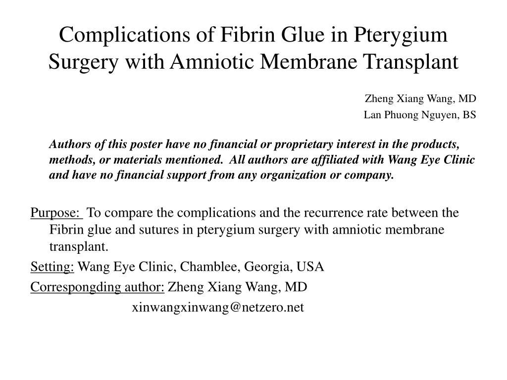 PPT - Complications of Fibrin Glue in Pterygium Surgery with