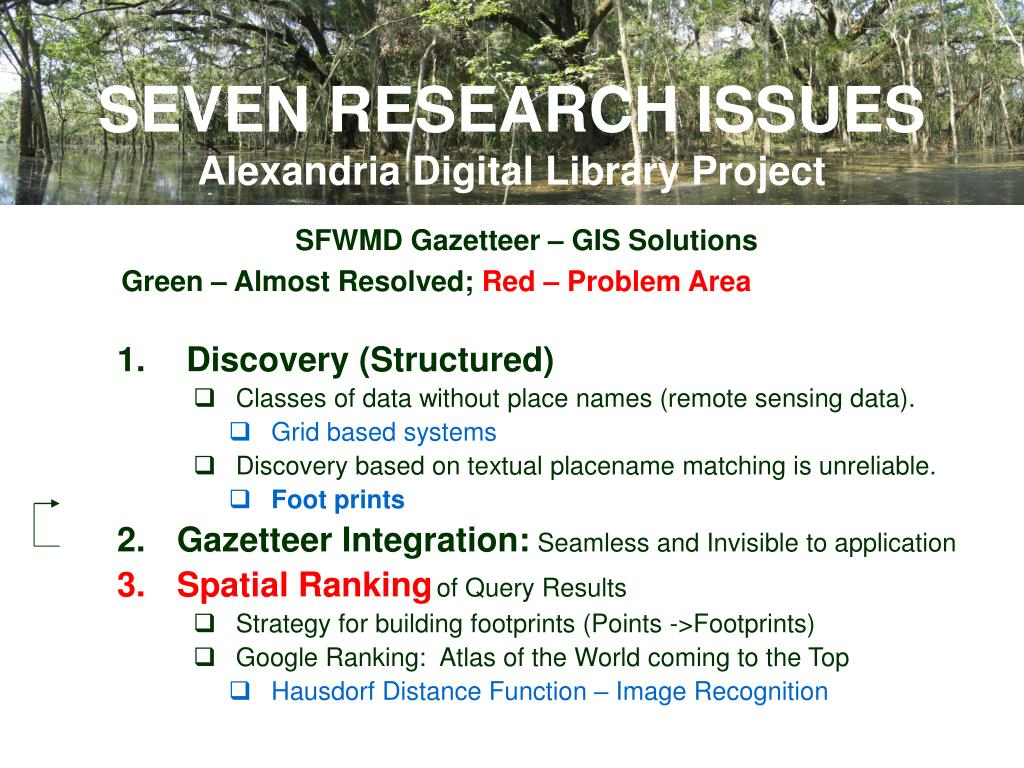 SEVEN RESEARCH ISSUES