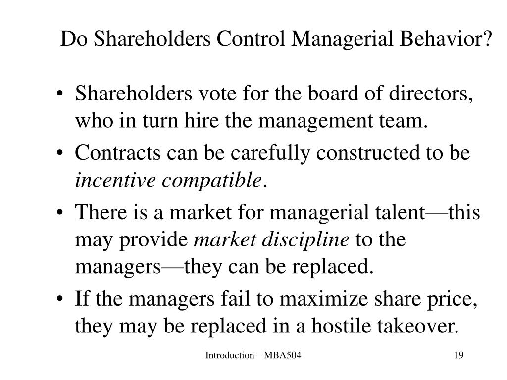 Do Shareholders Control Managerial Behavior?
