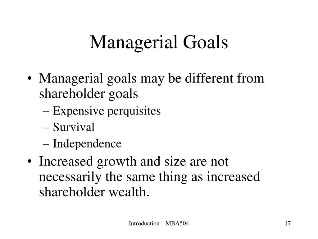 Managerial Goals