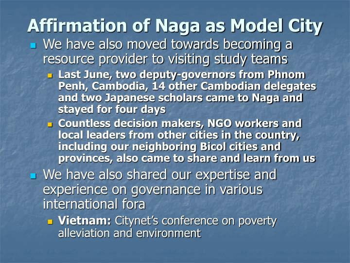 Affirmation of Naga as Model City