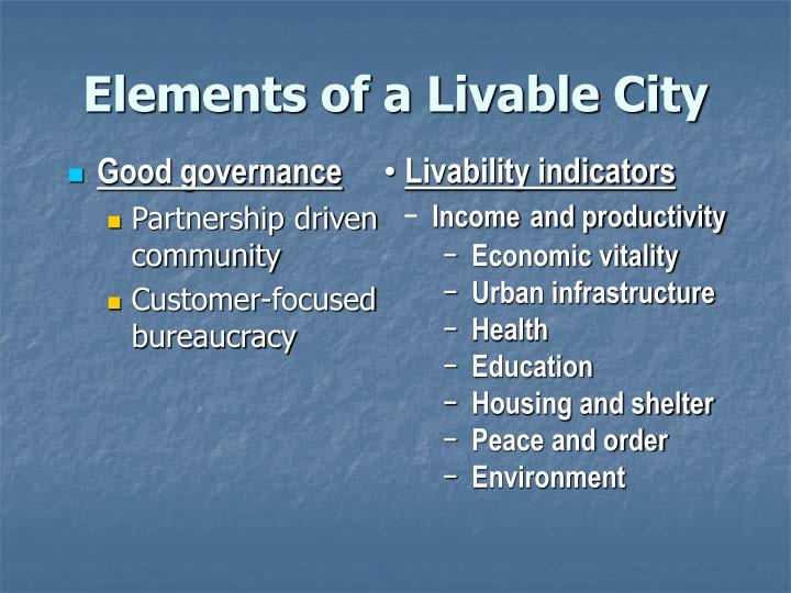 Elements of a Livable City