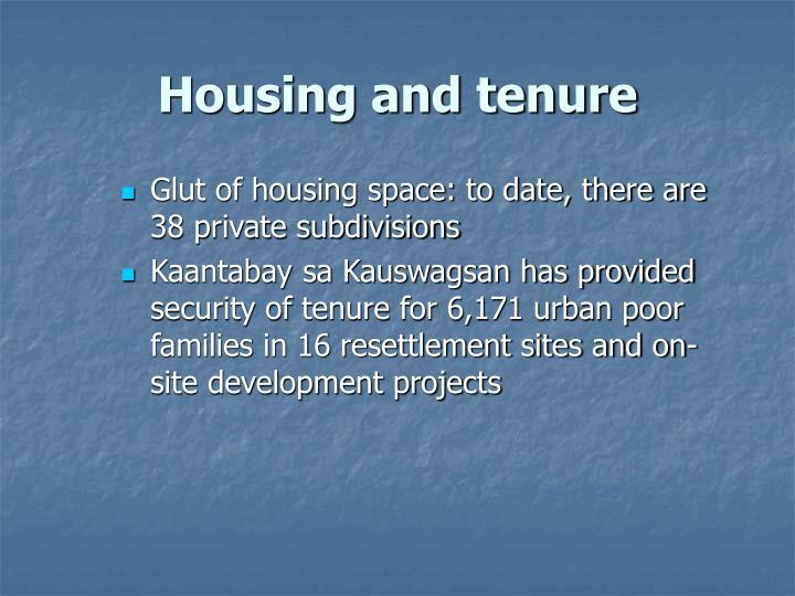 Housing and tenure