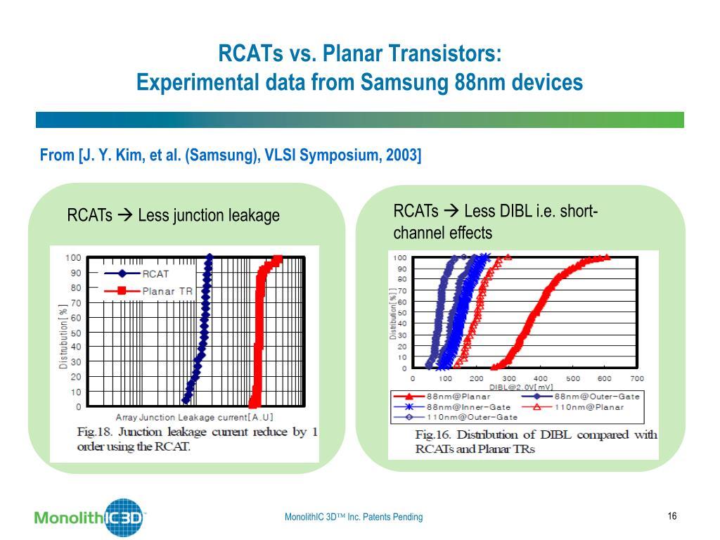 RCATs vs. Planar Transistors: