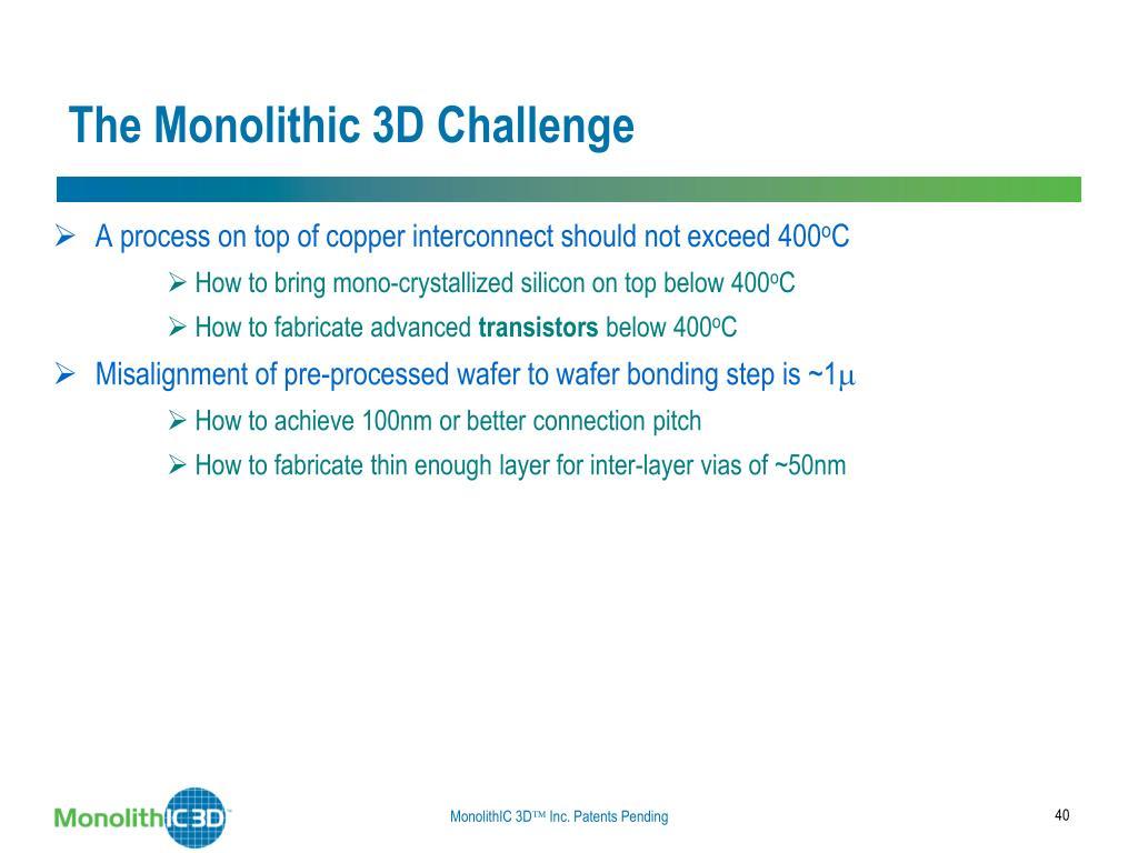 The Monolithic 3D Challenge