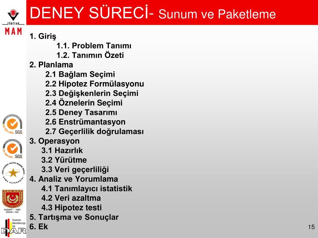 DENEY SÜRECİ-