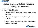 horse hay marketing program getting the business8