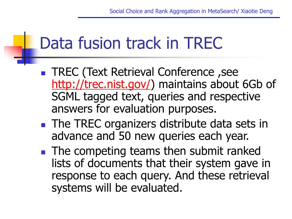 Data fusion track in TREC