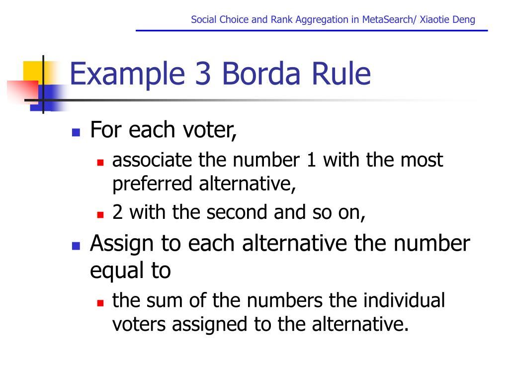 Example 3 Borda Rule