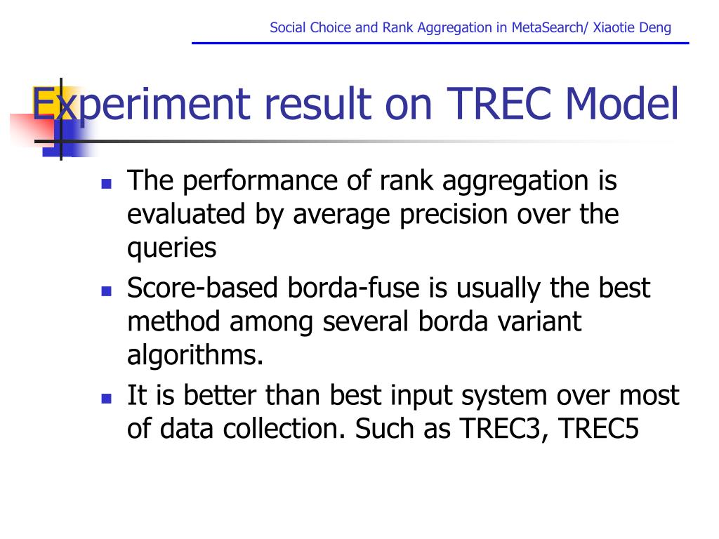 Experiment result on TREC Model