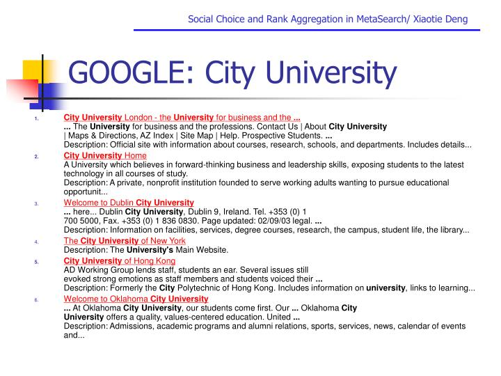 Google city university