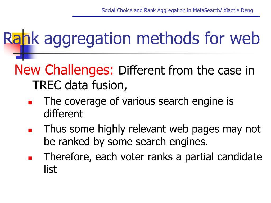 Rank aggregation methods for web