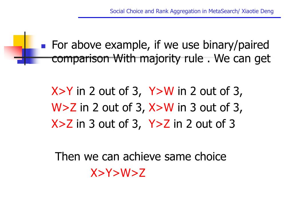 For above example, if we use binary/paired comparison With majority rule . We can get