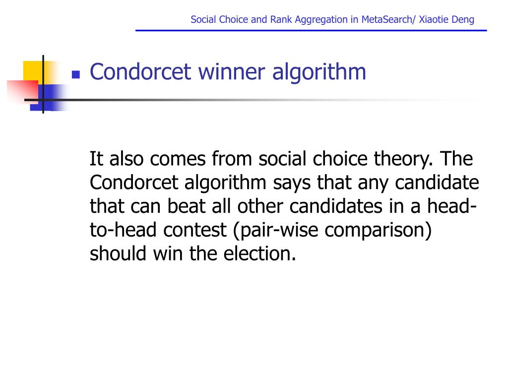 Condorcet winner algorithm