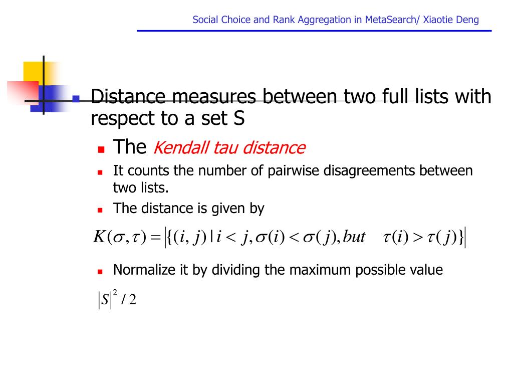 Distance measures between two full lists with respect to a set S