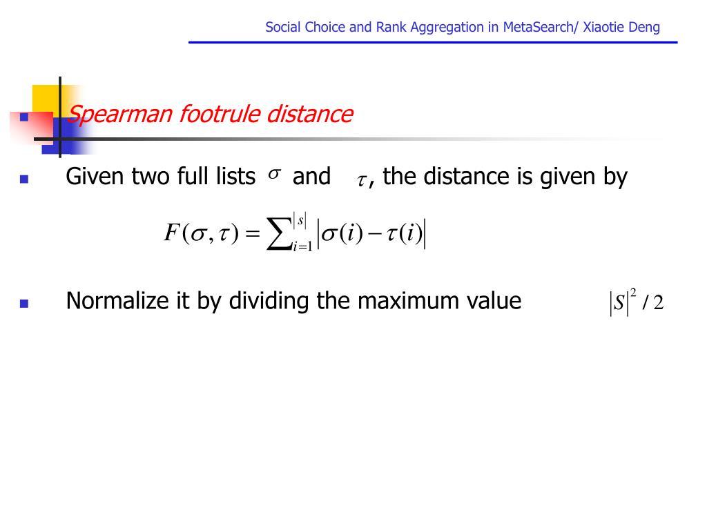 Spearman footrule distance