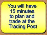 you will have 15 minutes to plan and trade at the trading post
