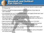 baseball and softball eye injuries