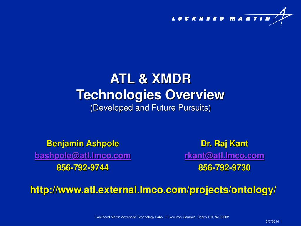 atl xmdr technologies overview developed and future pursuits l.