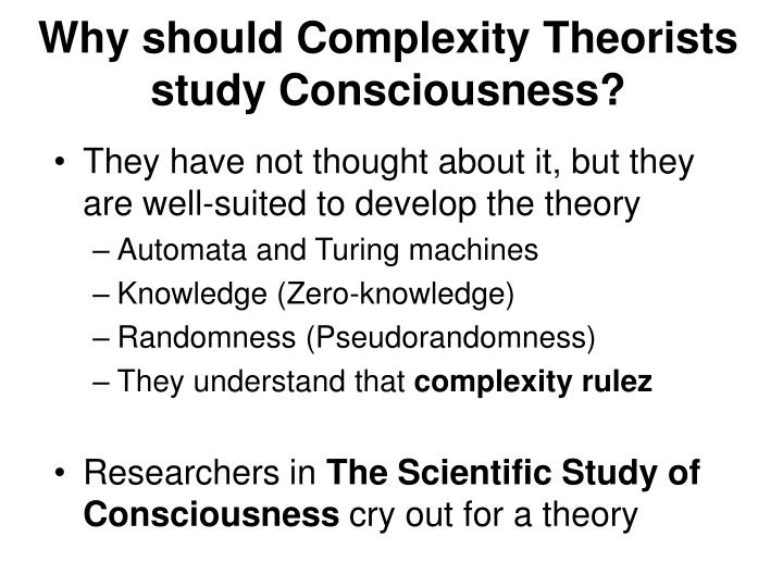 Why should Complexity Theorists study Consciousness?