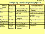 budgetary control reporting system