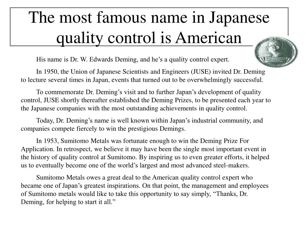 the most famous name in japanese quality control is american l.