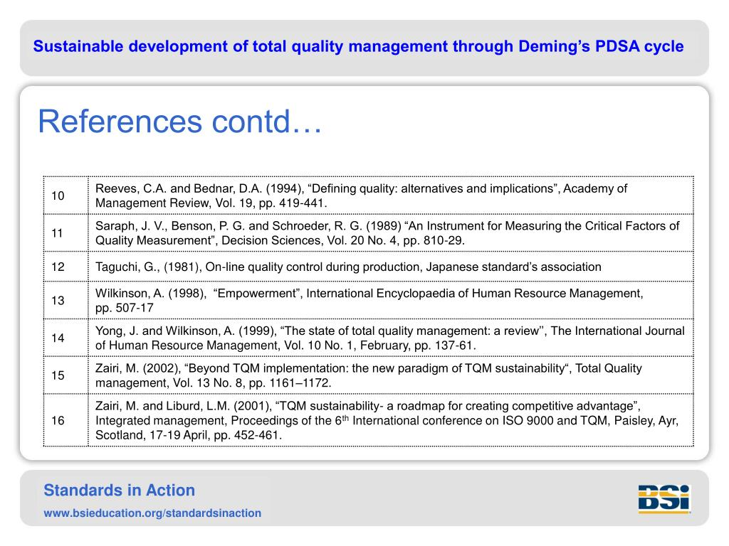 PPT - SUSTAINABLE DEVELOPMENT OF TOTAL QUALITY MANAGEMENT
