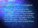 from colonization to urbanization
