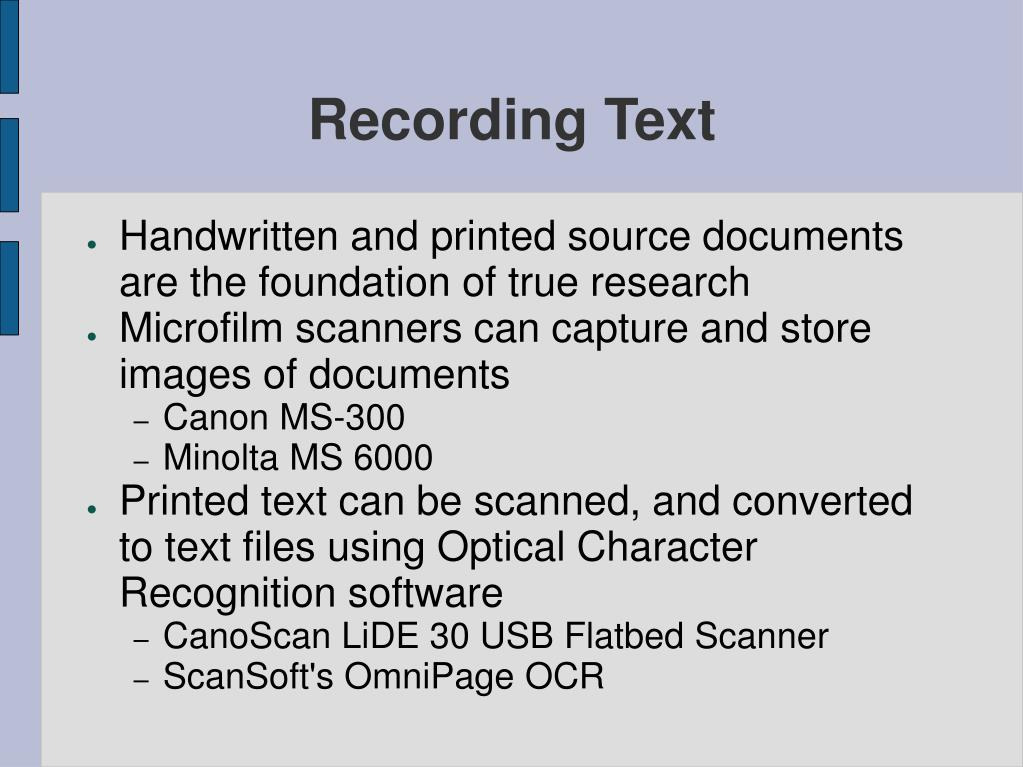 Recording Text