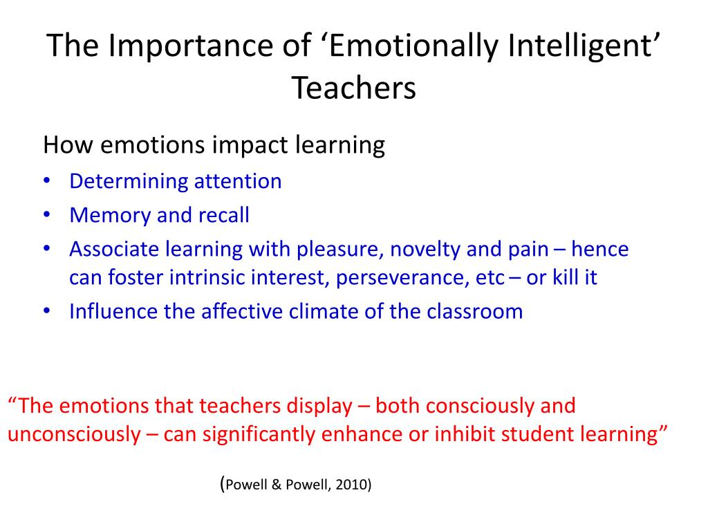 The Importance of 'Emotionally Intelligent' Teachers