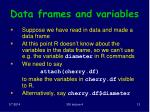 data frames and variables
